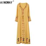V neck Vintage flare sleeve Floral Bohemian dress