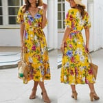 Floral V-Neck  Retro Elegant Long Boho Dress