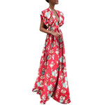 Sexy Petal Sleeve Floral Print Boho Dress