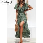 Ruffles Wrap Casual V-Neck  Long Chiffon  Floral Print Boho Dress