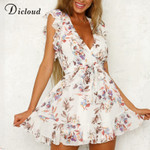 Sleeve Elegant V Neck Backless Wrap Floral Chiffon Boho Dresses