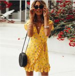 Ruffles  Floral Print V-Neck Boho Dress