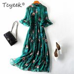 Vintage Silk Long Floral Boho Dress