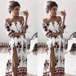 Floral Print Sexy Off Shoulder Long Sleeve Dress