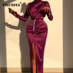 Elegant Turtleneck Satin Silk Button Split Long Sleeve Dress