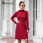 Pleated  Lace Patchwork Long Sleeve Dress