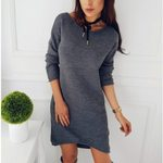 Pullover O Neck Casual Long Sleeve Dress