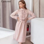 Vintage Stand Collar Ruffle Trim Long Sleeve Slim Dresses