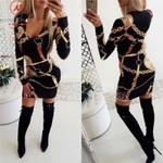Elegant Patchwork V-Neck Long Sleeve Dress