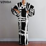 Vintage Sexy V Neck Printed Long Sleeve Dresses
