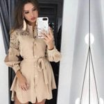 Lace Splice Long sleeve Button Mesh sashes Mini Dress