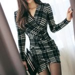 Sexy Vintage Plaid Long Sleeve Work Mini Dress