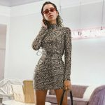 Long Sleeve Turtleneck Snakeskin Print Mini Dress