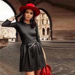 Pu Leather a Line Sexy Long Sleeve o Neck Vintage Mini Dress
