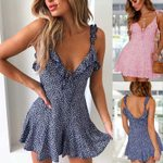 Sleeveless Strapless Floral Print Ruffles Backless A-Line Mini Dress