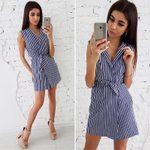 Stripe Print Casual V-Neck Sleeveless Loose Mini Dress