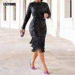 Elegant Luxury Long Sleeve Tassel Midi Dresses