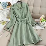 Long Sleeves Elegant Turn-down Long Shirt A-Line Midi Dress
