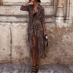 Leopard Print Sexy V Neck Long Sleeve Midi Dress