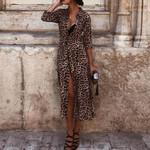 Leopard Print Sexy V Neck Long Sleeve Midi Dress