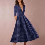 Draped half sleeve Vintage Polka Dot Print midi dress