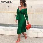 Elegant Pleated Satin Off Shoulder Long Sleeve Casual Midi Dress