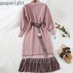 Patchwork Slim Long Sleeves Turtleneck Knitted Maxi Dresses