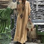V neck Flare Sleeve Lace Crochet Maxi Long Dress