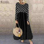 Fashion Casual Long Sleeve Patchwork Printed Maxi Dress