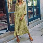 Sexy High Split Vintage Floral Printed V Neck Long Maxi Dress