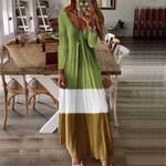 Elegant Sexy V-neck Long Sleeve Casual Loose Printed Maxi Dresses