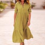 Lapel Cotton Linen Long Sleeve Long Maxi Dress
