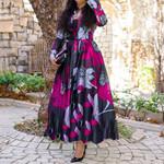 Vintage Floral Print Elegant Long Sleeve Maxi Shirt Dress