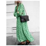 Casual Long Sleeve V Plunge Polka Dot Maxi Dress
