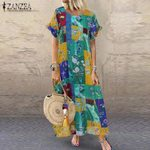 Floral Printed Vintage Casual Short Sleeve Maxi Dress