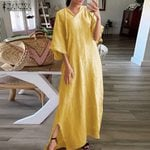 Cotton Half Sleeve Fashion Pockets Long Maxi Dress