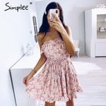 Casual Sleeveless floral print tube sexy dress
