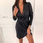 Wrap Ruched Long Sleeve elegant Deep V Sexy Dress Women