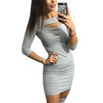 Fashion Sheath Round Neck Slim Sexy Dresses