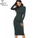 Long Sleeve Turtleneck Knitted Sexy Dress