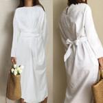 Fashion Long Sleeve Casual Loose Twisted Pleated Bandage Shirt Dress