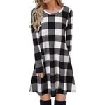 Fashion Plaid Long Sleeve  Shirt Dresses