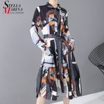 Sash Ladies Elegant Printed  Winter Long Shirt Dress