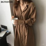 Single-breasted Casual Loose V-neck Shirt Dress