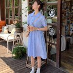 Vintage Short Sleeve Long Plaid Shirt Dresses