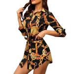 Casual Long Sleeve Chain Print Shirt Dress