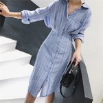 Long Sleeve Knee Length Elegant Slim Waist Striped Shirt Dress