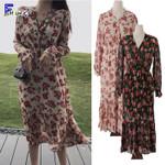 Floral Printed Vintage Slim High Waist  V Neck Shirt Dress