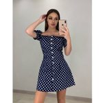 Short Sleeve Fashion A Line Polka Dot Off Shoulder Dress