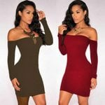 Long Sleeve Sexy Slash Neck Stretch Slim Off Shoulder Dresses